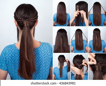 tutorial photo of simple hairstyle pony tail with braided hair