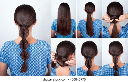 tutorial photo of simple hairstyle twisted pony tail with scrunchy