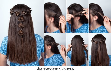 tutorial photo of simple twisted hairstyle with scrunchy for long hair