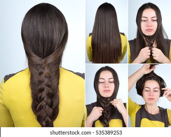tutorial photo step by step of fast braided hairstyle for self