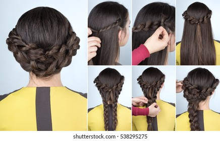tutorial photo step by step of hairstyle elegant updo with braids