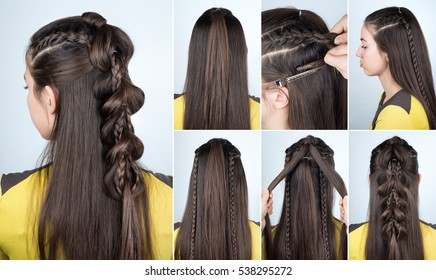 ef2e8dc1b3a tutorial photo step by step of modern hairstyle braid with loose hair