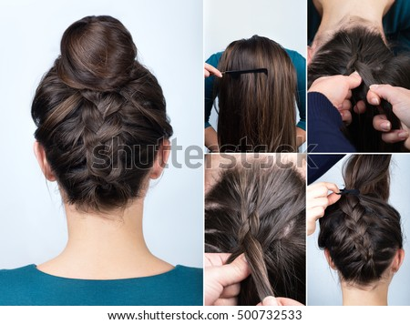 tutorial photo step by step of modern hairstyle reverse upside down french braid with bun for long hair