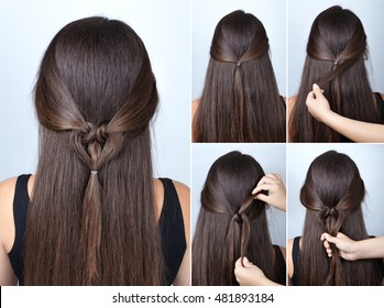 tutorial photo step by step of simple  hairstyle for Valentine's Day twisted heart with scrunchy