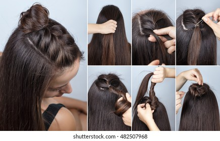 tutorial photo step by step of simple modern hairstyle twisted bun and braid with loose hair
