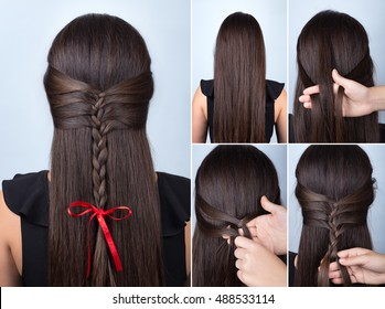 tutorial photo step by step of simple braided hairstyle with red bow for long loose hair