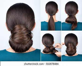 tutorial photo step by step of simple hairstyle twisted bun for long hair