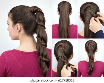 tutorial photo step by step of simple hairstyle pony tail with braid for long hair