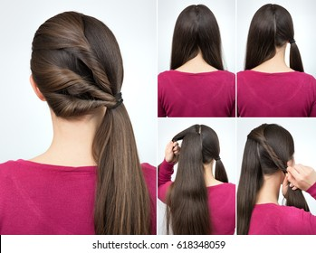 tutorial photo step by step of simple hairstyle pony tail with twisted hair