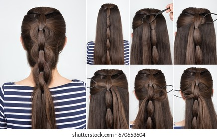 tutorial photo step by step of simple hairstyle braid for party. Backstage technique of weaving plait
