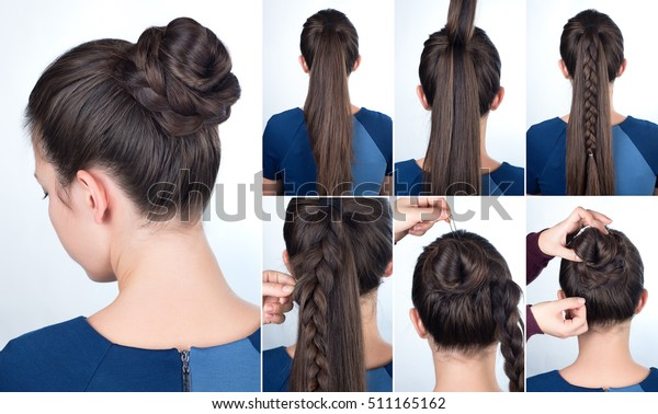 tutorial photo step by step of simple hairstyle twisted bun with plait for long hair