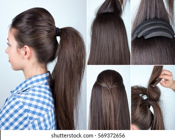 tutorial photo step by step of volume hairstyle ponytail with bouffant
