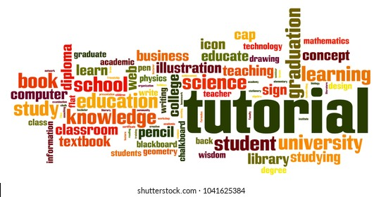 Tutorial word cloud concept on white background, 3d rendering.