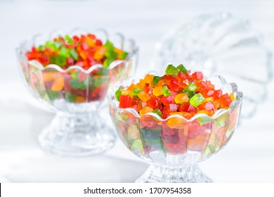Tutti Frutti in glass bowl on white background, Colorful candied fruits, Tutti Frutti for bread, biscuits and ice cream