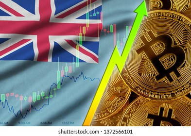 Tuvalu flag and cryptocurrency growing trend with many golden bitcoins