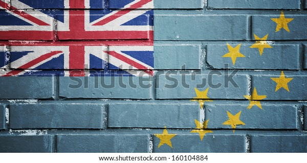 Tuvalu flag on texture brick wall