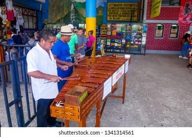 Tuxtla Gutiérrez, Mexico - July 29, 2018 : Marimba musicians playing music as a duet at Tuxtla Gutierrez, Chiapas, Mexico