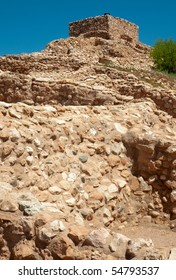 Tuzigoot native american indian ruin walls and tower