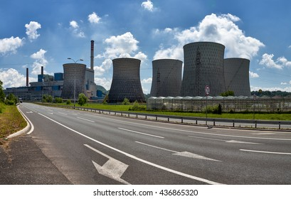 TUZLA, BOSNIA AND HERZEGOVINA - JUNE 14, 2016: Photo showing Tuzla Thermal Power Plant with nameplate capacity of 715 MW. The plant burns 330,000  tons of coal annually.