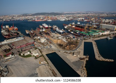 Tuzla, Istanbul, Turkey - 25 August 2013; Tuzla district of Istanbul. Aerial view of shipyards in Marmara sea. This shipyard zone was founded in 1960s and houses about 40 shipbuilding companies
