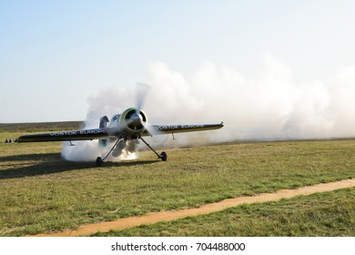TUZLA, ROMANIA - AUGUST 19, 2017: Aeronautical demonstration including airborne acrobatics with planes, ultrasonic powered aircraft, helicopters, military aircraft, hot air balloon, parachute jumps