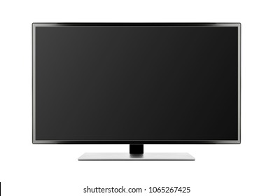 TV 4K flat screen lcd or oled, plasma realistic illustration, Black blank HD monitor mockup, Modern video panel black flatscreen with clipping path