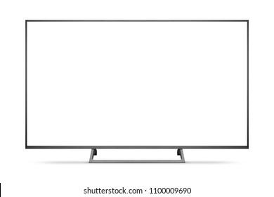 TV 4K flat screen lcd or oled, plasma realistic illustration, White blank HD monitor mockup, Modern video panel black flatscreen with clipping path