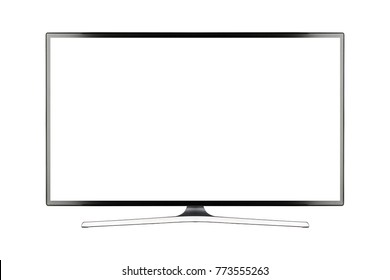 TV 4K flat screen lcd or oled, plasma realistic illustration, White blank HD monitor mockup, Modern video panel black flatscreen with clipping path