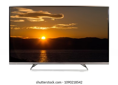 TV - 4K resolution modern television - sunset scene