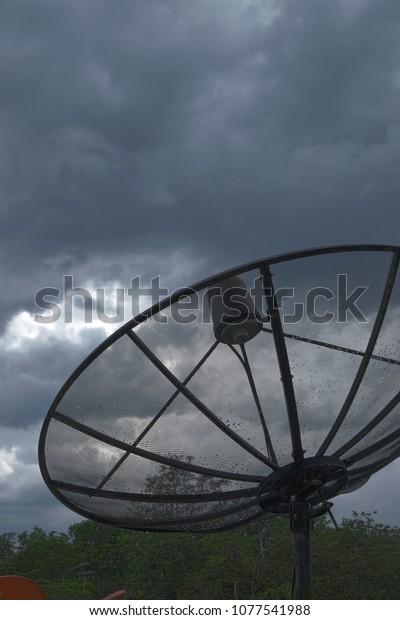 Tv Antenna Communication Satellite Dish Storm Stock Photo