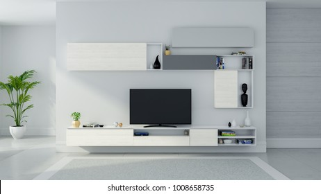 TV cabinet interior modern room design and Cozy Living style , Wood sideboard on white wall with  mable floor and gray carpet ,3d illustration