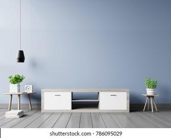 Tv cabinet in modern empty room on back dark wall background, 3d rendering
