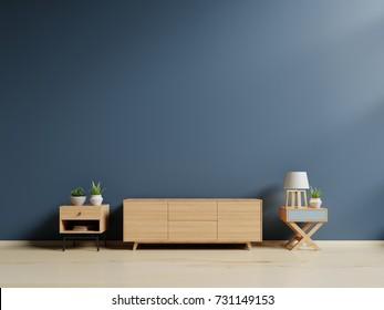 Tv cabinet in modern empty room,minimal designs, 3d rendering
