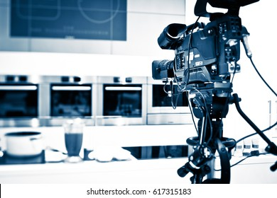 Tv camera against studio