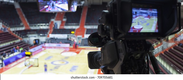 tv camera before the broadcast of the basketball match.