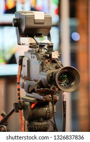 TV camera behind the scenes of video production or video shooting at studio