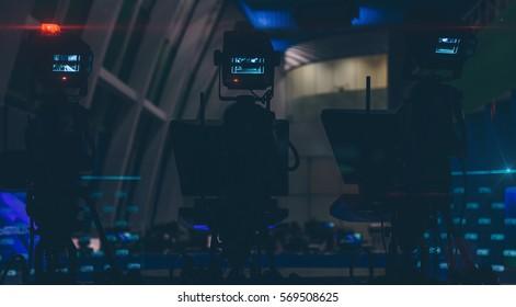 TV cameras in an empty newsroom closeup