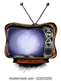 TV. Cartoon illustration of television on white background.