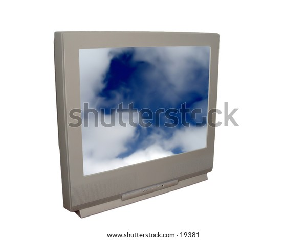 TV with clouds on the screen, isolated on white background