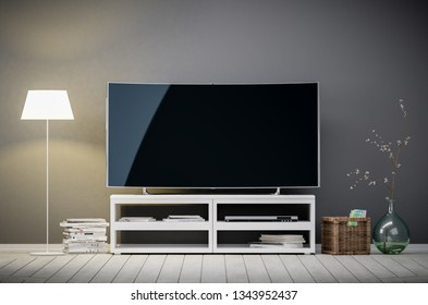 Tv display with blank screen against the gray wall in the living room