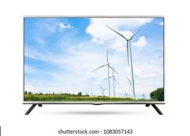 TV flat screen landscape isolated white background. clipping path