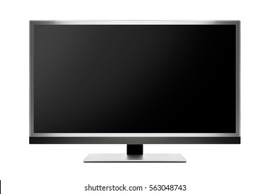 TV flat screen lcd, plasma realistic tv mock up. Modern video panel white screen mock-up with clipping path