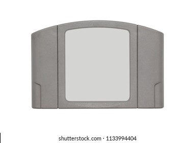 TV game cartridge in grey plastic case from 90s isolated on white background