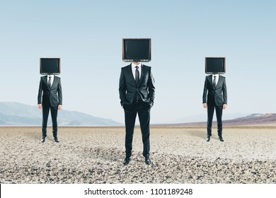 TV headed men standing on abstract landscape background. Brainwash and manipulation concept
