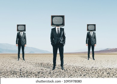 TV headed people standing on abstract landscape background. Brainwash and manipulation concept