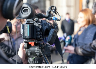 TV interview. Public relations - PR. News conference.