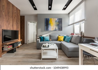 Tv living room with wooden wall and big, gray sofa
