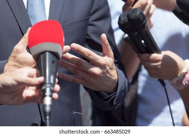 TV, media or press interview with business person