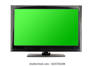 tv monitor with green screen isolated on white