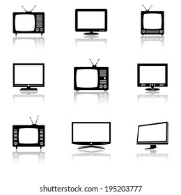 tv and monitor icons set